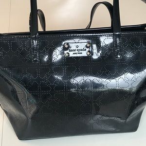 kate spade harmony tote in black with tan interior